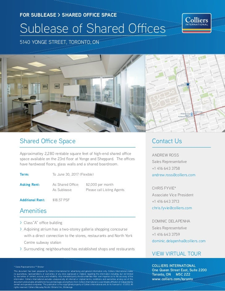 FOR SUBlease > SHARED OFFICE SPACE       Sublease of Shared Offices       5140 Yonge street, toronto, on       Shared Offi...