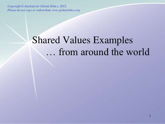 Shared values from around the world