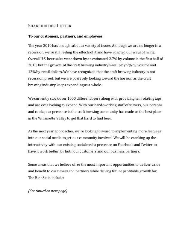 SHAREHOLDER LETTER To our customers, partners, and employees: The year 2010 has brought about a variety of issues. Althoug...