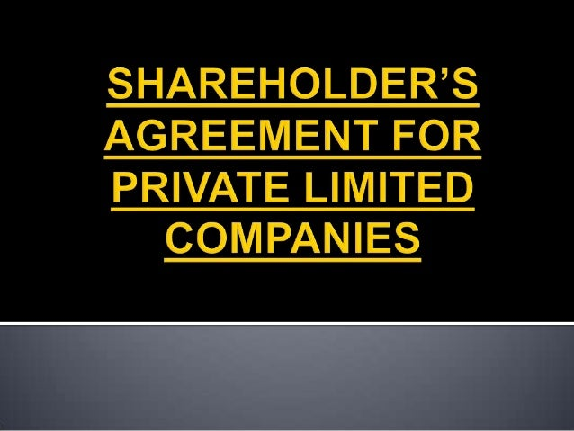 Shareholder's agreement for private limited companies