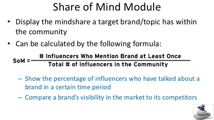 Share of Mind Module<br />Display the mindshare a target brand/topic has within the community<br />Can be calculated by th...