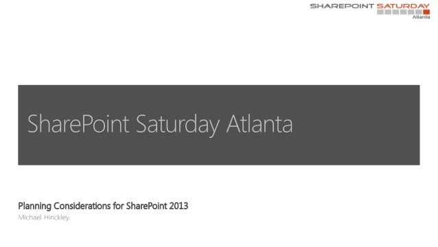 Planning Considerations for SharePoint 2013
