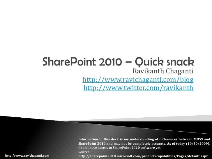 SharePoint 2010 – Quick snack<br />Ravikanth Chaganti<br />http://www.ravichaganti.com/blog<br />http://www.twitter.com/ra...