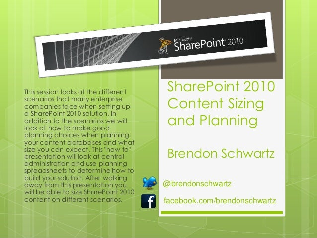 This session looks at the different    SharePoint 2010scenarios that many enterprisecompanies face when setting up        ...