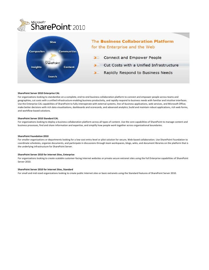 SharePoint Server 2010 Enterprise CAL For organizations looking to standardize on a complete, end-to-end business collabor...