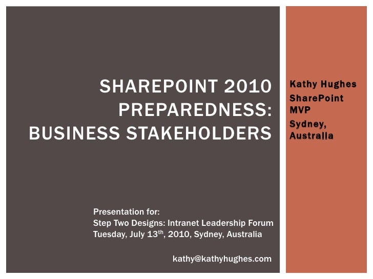 SharePoint 2010 for Business, Intranet Leadership Forum