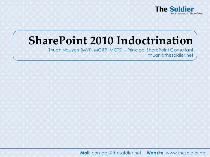 Share point 2010 indoctrination