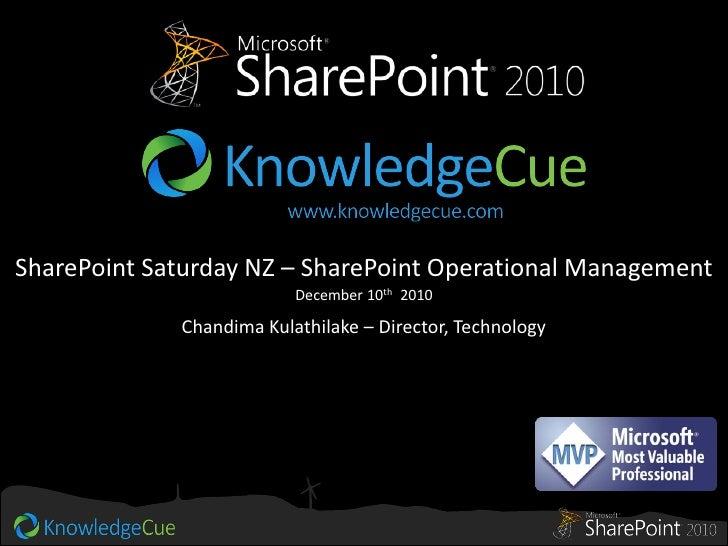 SharePoint 2010 Operational Management   sp-saturday nz