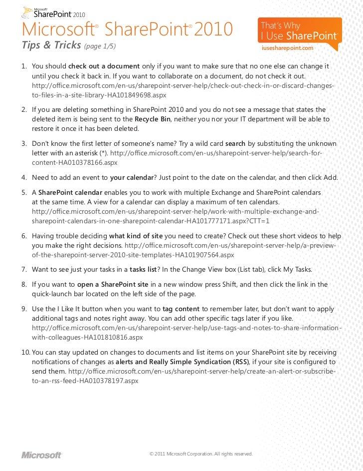 SharePoint 2012 tips & tricks