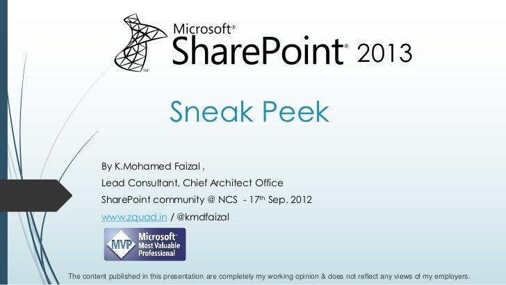 SharePoint 2013 Sneak Peek