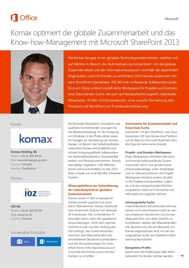 SharePoint 2013: Kollaborationsplattform bei Komax