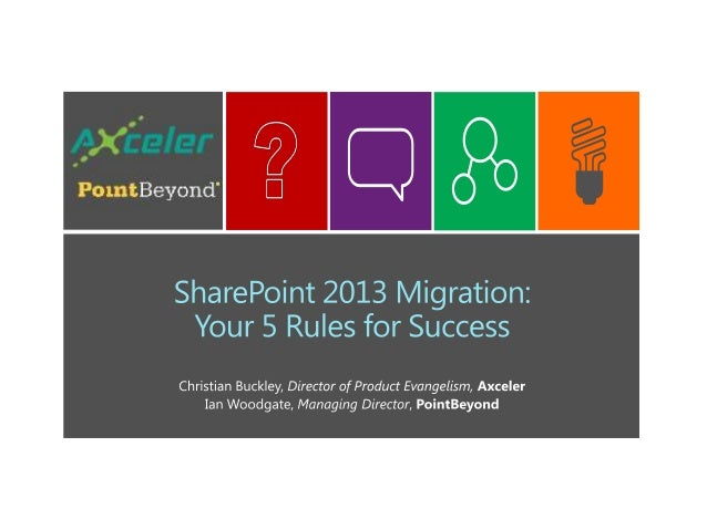 SharePoint 2013 Migration:Your 5 Rules for SuccessWhat we'll cover today:• SharePoint and your changing organization• Adva...