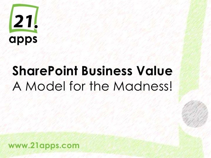 SharePoint Business Value A Model for the Madness!www.21apps.com  @AndrewWoody #spsuk   #rwsbs