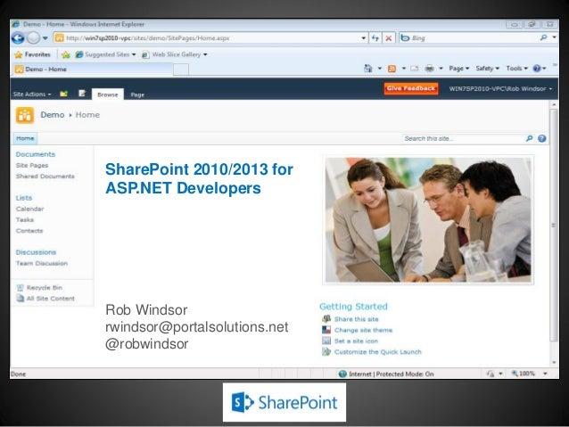 SharePoint 2010/2013 for ASP.NET Developers Rob Windsor rwindsor@portalsolutions.net @robwindsor