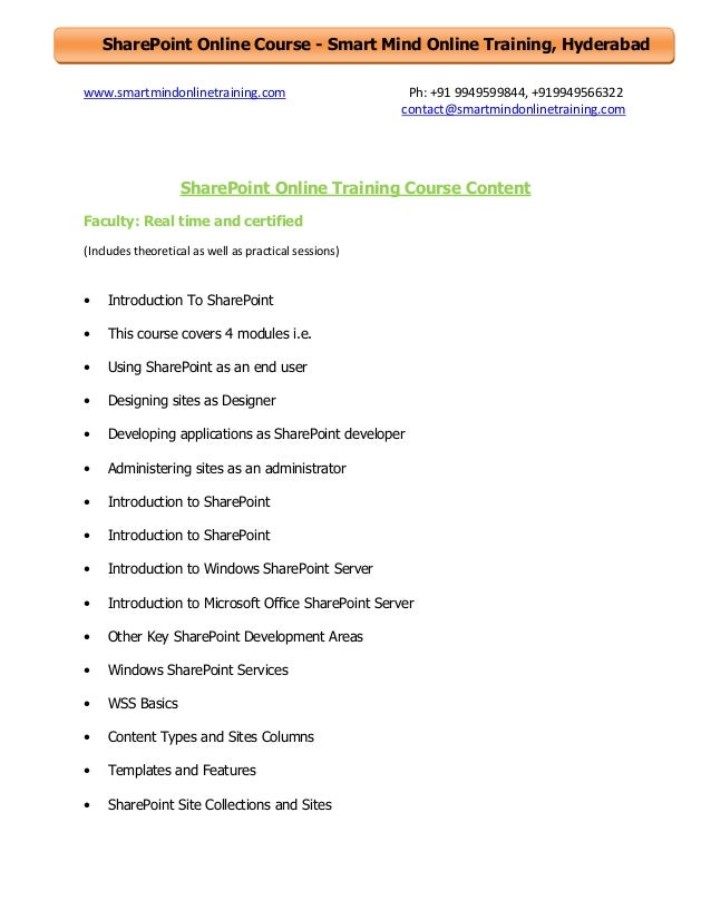 Sharepoint online training course content