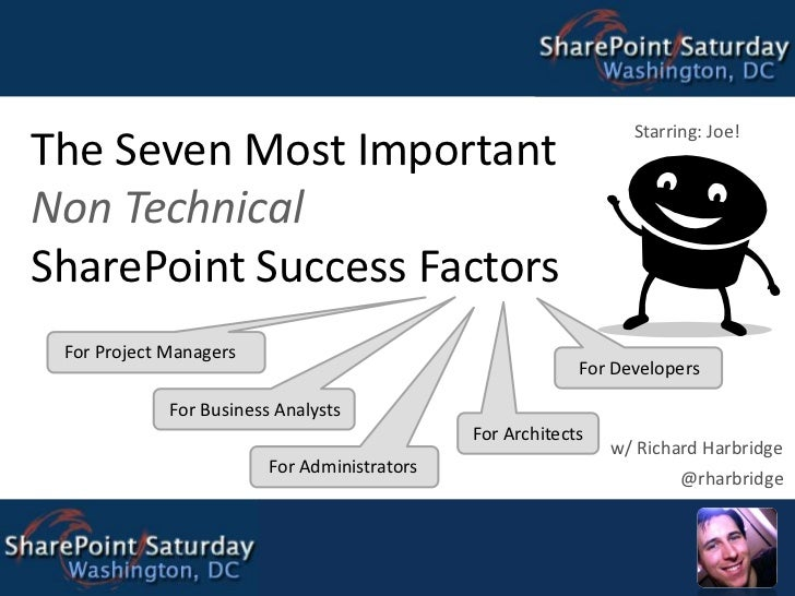 The Seven Most Important Non Technical SharePoint Success Factors<br />Starring: Joe!<br />For Project Managers<br />For D...