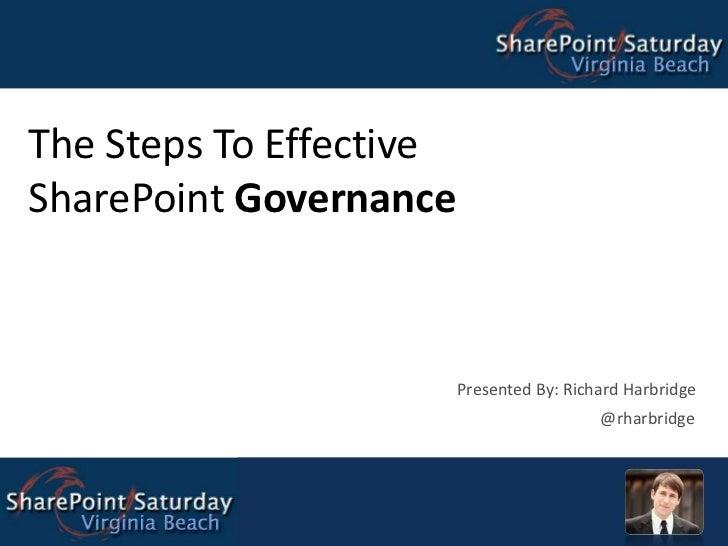 The Steps To Effective SharePoint Governance Presented By: Richard Harbridge @rharbridge