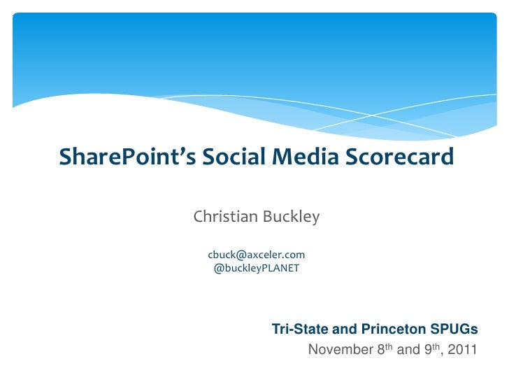 SharePoint's Social Media Scorecard                                       Christian Buckley                               ...