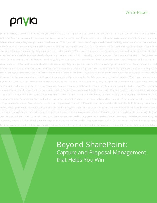 Beyond Sharepoint: Capture & Proposal Management That Helps You Win