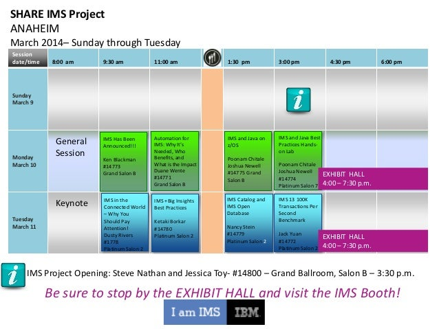SHARE IMS Project ANAHEIM March 2014– Sunday through Tuesday Session date/time  8:00 am  9:30 am  11:00 am  1:30 pm  3:00 ...