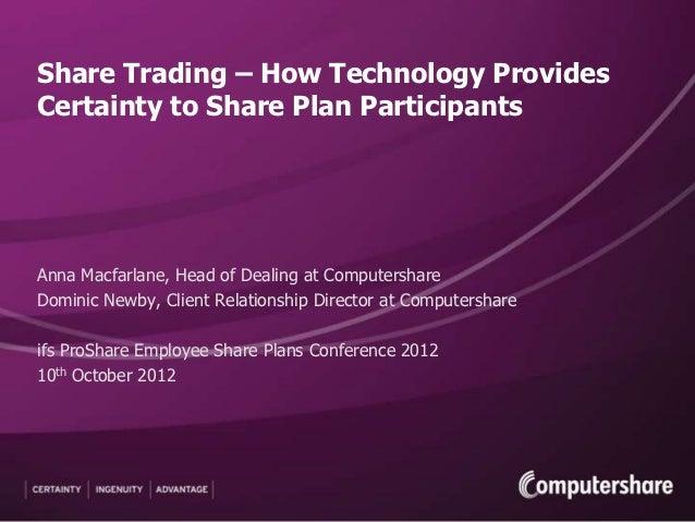 Share Trading – How Technology ProvidesCertainty to Share Plan ParticipantsAnna Macfarlane, Head of Dealing at Computersha...