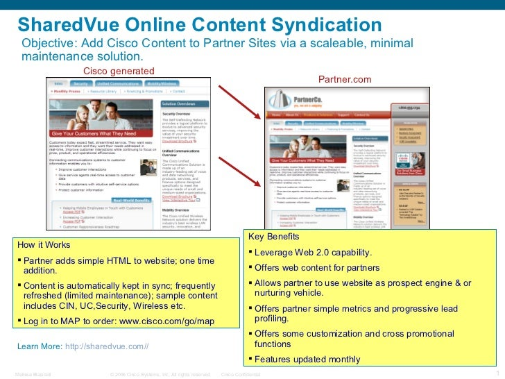 SharedVue Online Content Syndication Cisco generated Partner.com Objective:  Add Cisco Content to Partner Sites via a scal...