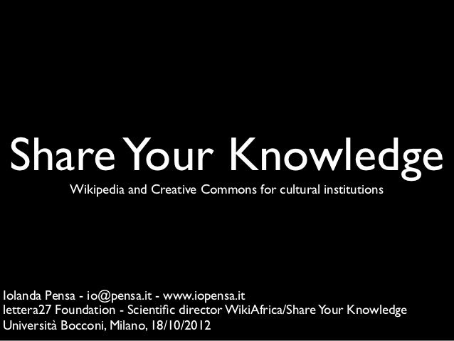 Share your knowledge bocconi-2012