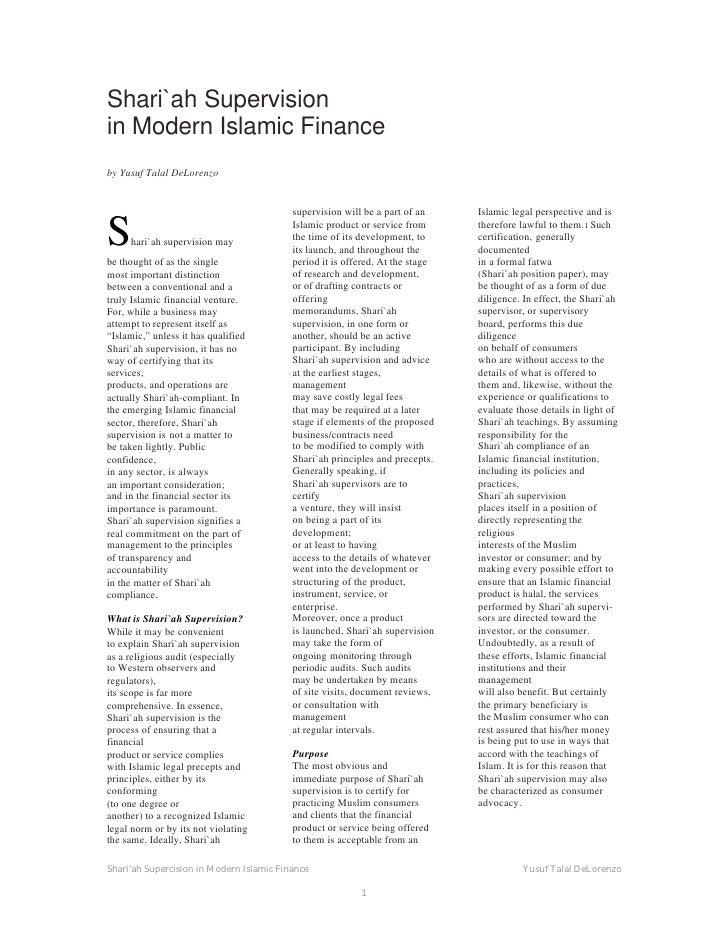 Shari'ah Supervision in Modern Islamic Finance
