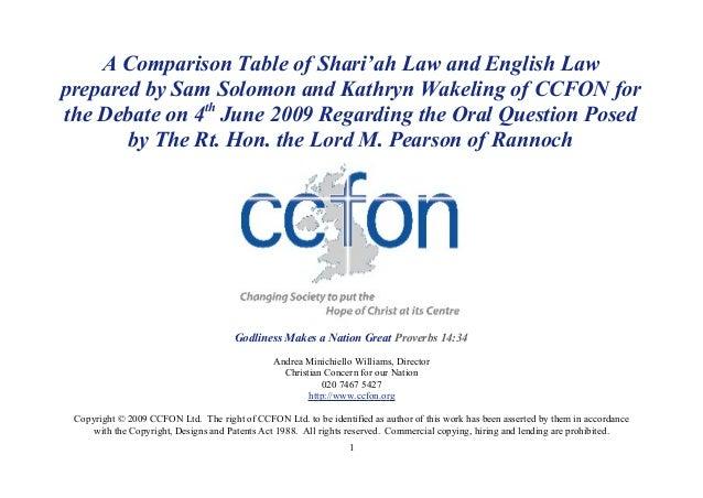 Sharia law vs English Law