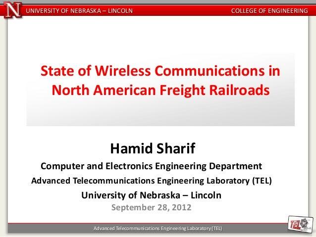 UNIVERSITY OF NEBRASKA – LINCOLN                                               COLLEGE OF ENGINEERING    State of Wireless...