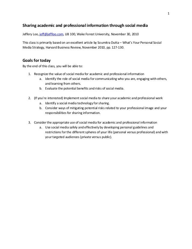 Sharing academic and professional information through social media (handout)