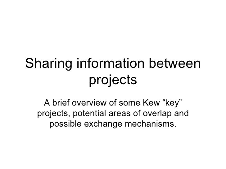 Sharing information between projects