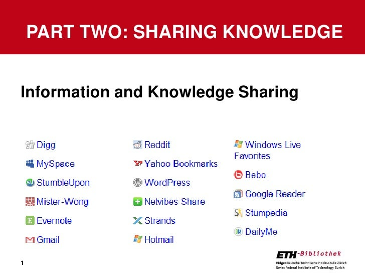 Information andKnowledge Sharing<br />Part Two: Sharing knowledge<br />