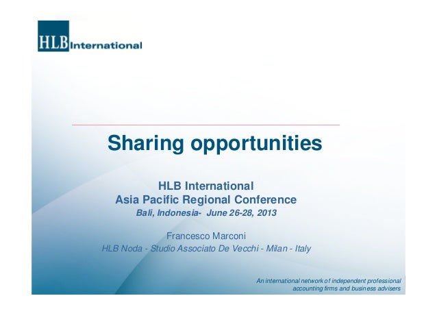 An international network of independent professional accounting firms and business advisers Sharing opportunities HLB Inte...