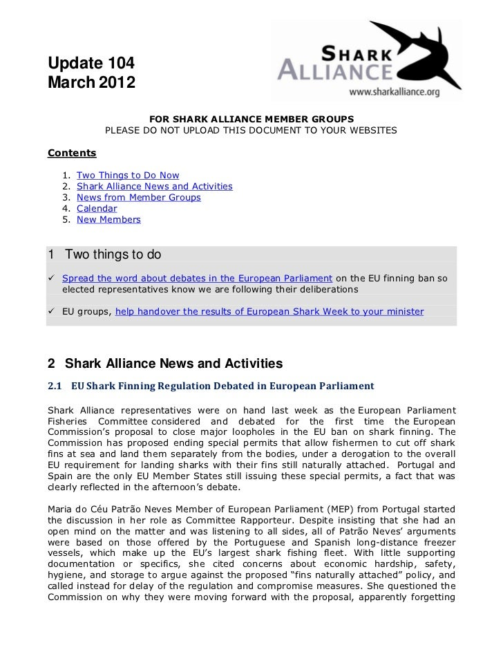 Update 104March 2012                      FOR SHARK ALLIANCE MEMBER GROUPS              PLEASE DO NOT UPLOAD THIS DOCUMENT...