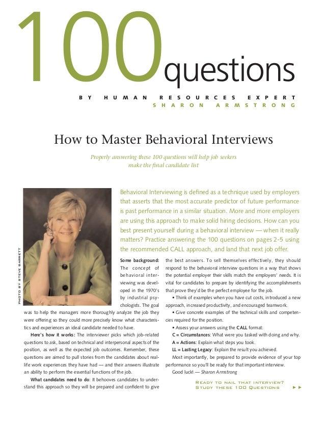 100  questions  B  Y  H  U  M  A  N  R E S O U R S H A R O N  C E S A R M  E X P E R T S T R O N G  How to Master Behavior...