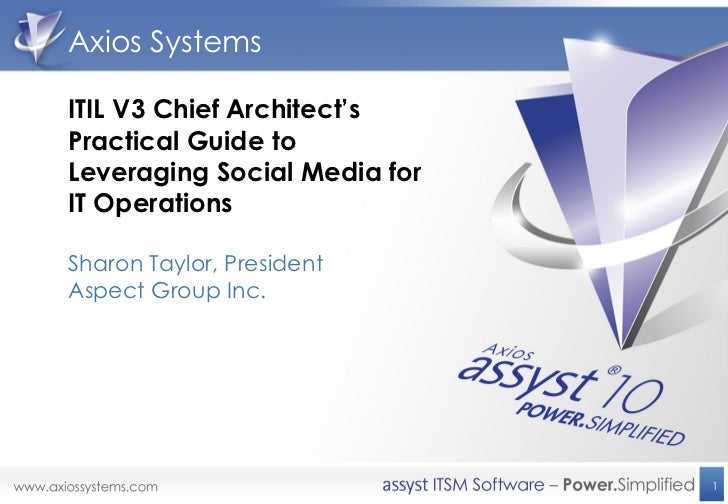 Axios SystemsITIL V3 Chief Architect'sPractical Guide toLeveraging Social Media forIT OperationsSharon Taylor, PresidentAs...