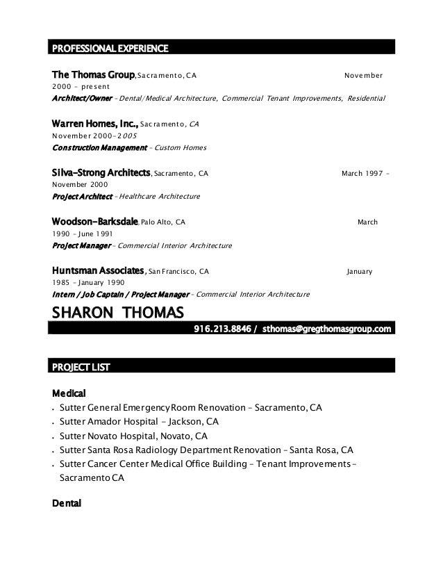 architect resume 2010