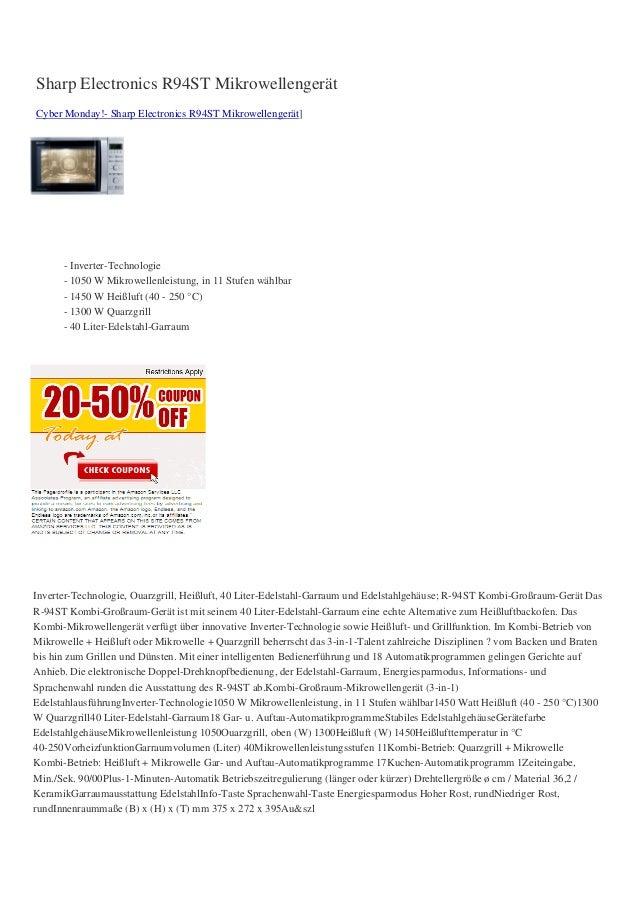 Sharp Electronics R94ST MikrowellengerätCyber Monday!- Sharp Electronics R94ST Mikrowellengerät]- Inverter-Technologie- 10...
