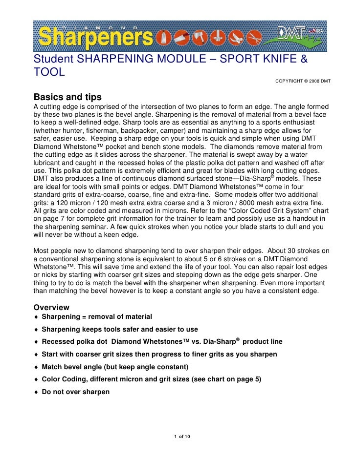 Student SHARPENING MODULE – SPORT KNIFE & TOOL                                                                            ...