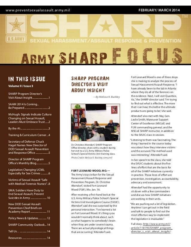 FEBRUARY/ MARCH 2014www.preventsexualassault.army.mil SHARP PROGRAM DIRECTOR'S VISIT ABOUT INSIGHT —By Melissa K. Buckley ...