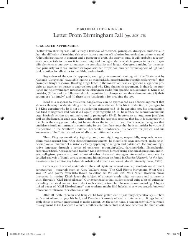 rhetorical essays on letter from birmingham jail King's letter from birmingham jail: a rhetorical analysis using color coding, this  site analyzes king's famous letter according to the writer's emphasis on pathos.