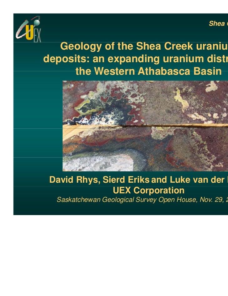 Shea Creek deposits   Geology of the Shea Creek uranium   G l        f h Sh C      k    ideposits: an expanding uranium di...