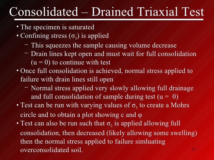 Consolidated Drained Triaxial Test Drained Triaxial Test
