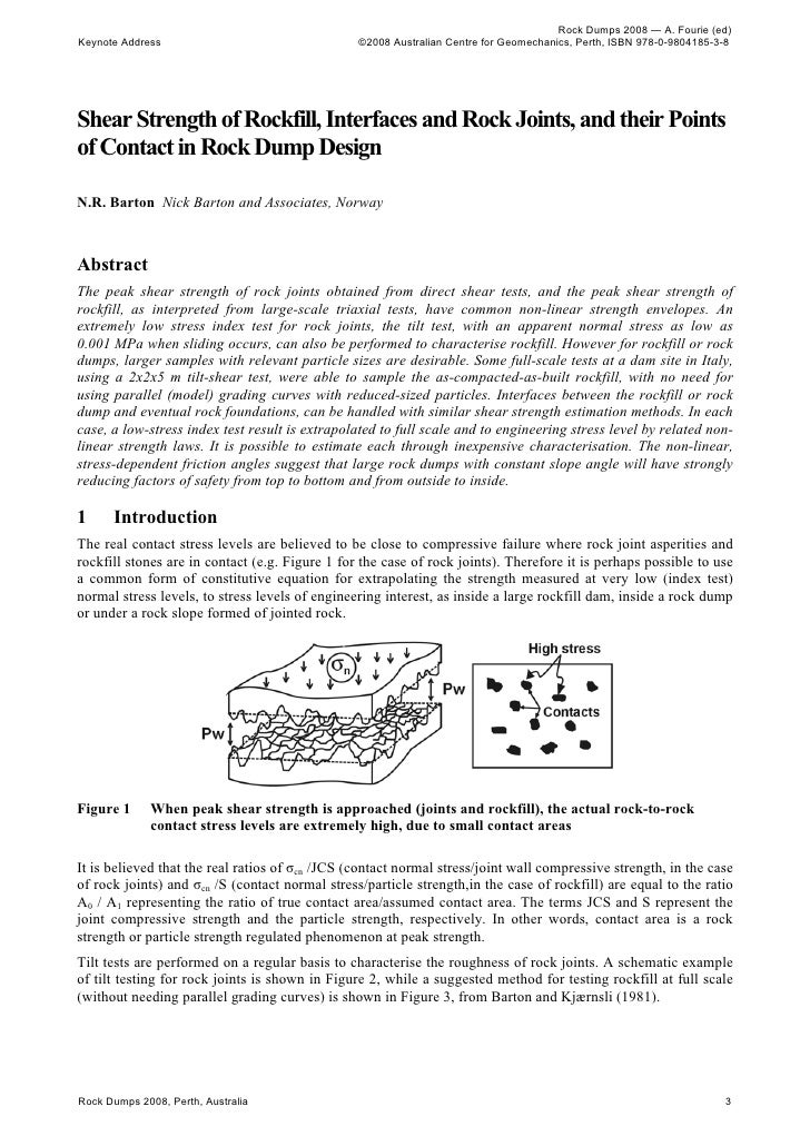 Shear Strength Of Rockfill, Interfaces And Rock Joints, And Their Points