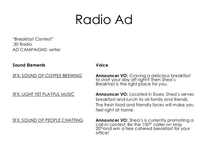 thesis on radio advertising Advertising is undertaken by organisations in order to attract the attention of people towards products and  the main purposes of advertising are as follows.