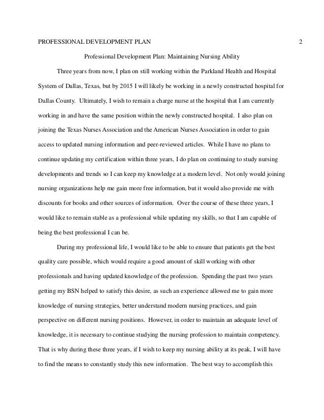 Professional Development Plan Essay
