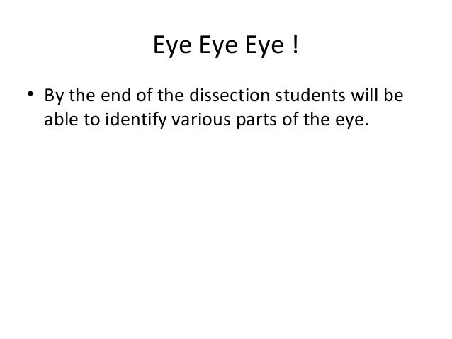 Eye Eye Eye !• By the end of the dissection students will beable to identify various parts of the eye.