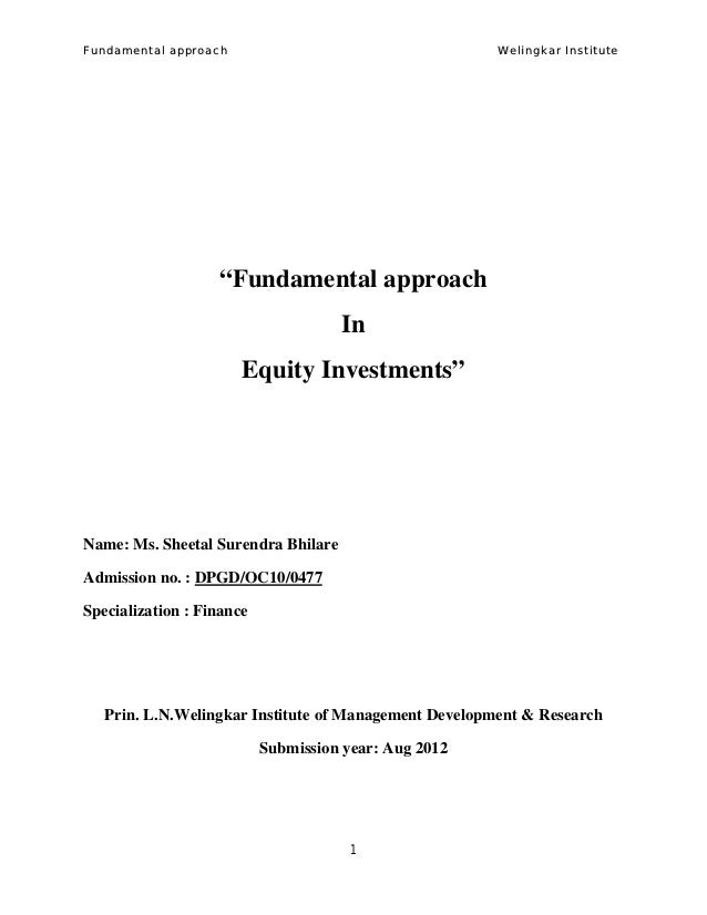Fundamental Approach in Equity Investment