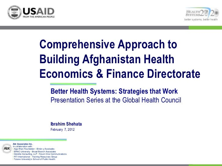 Comprehensive Approach to Building Afghanistan Health Economics & Finance Directorate